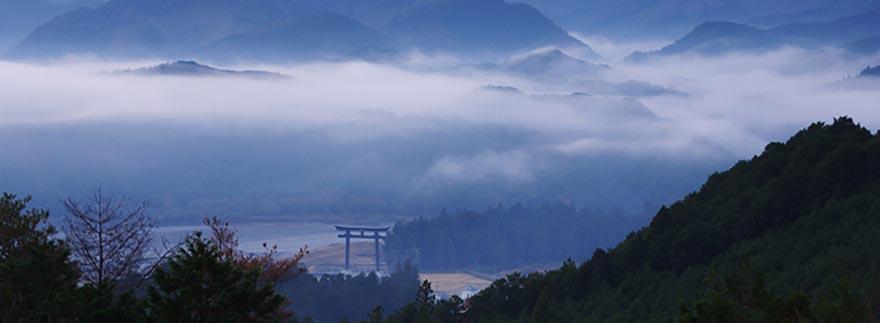 熊野古道見晴台から見た大斎原